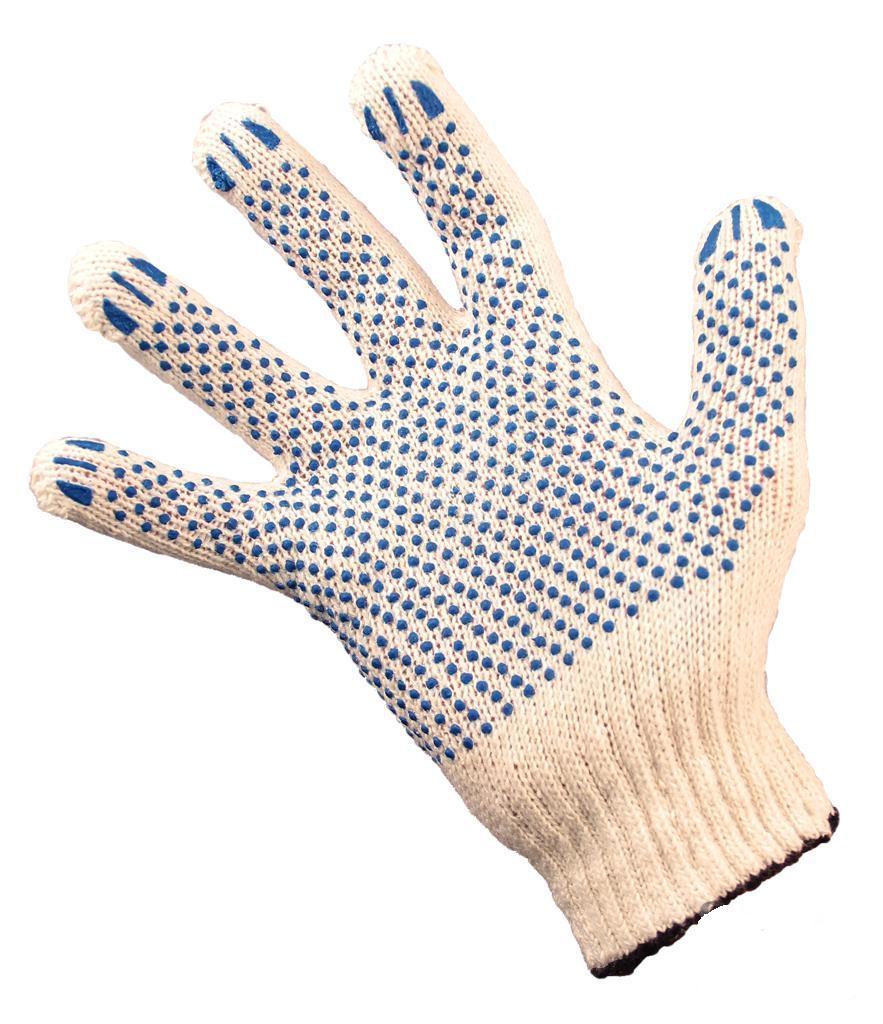 Перчатки рабочие хб с ПВХ вязаные СТАНДАРТ 4 нити  7,5 класс