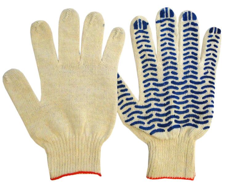 Перчатки рабочие люкс ВОЛНА ХБ с ПВХ 5 нитей