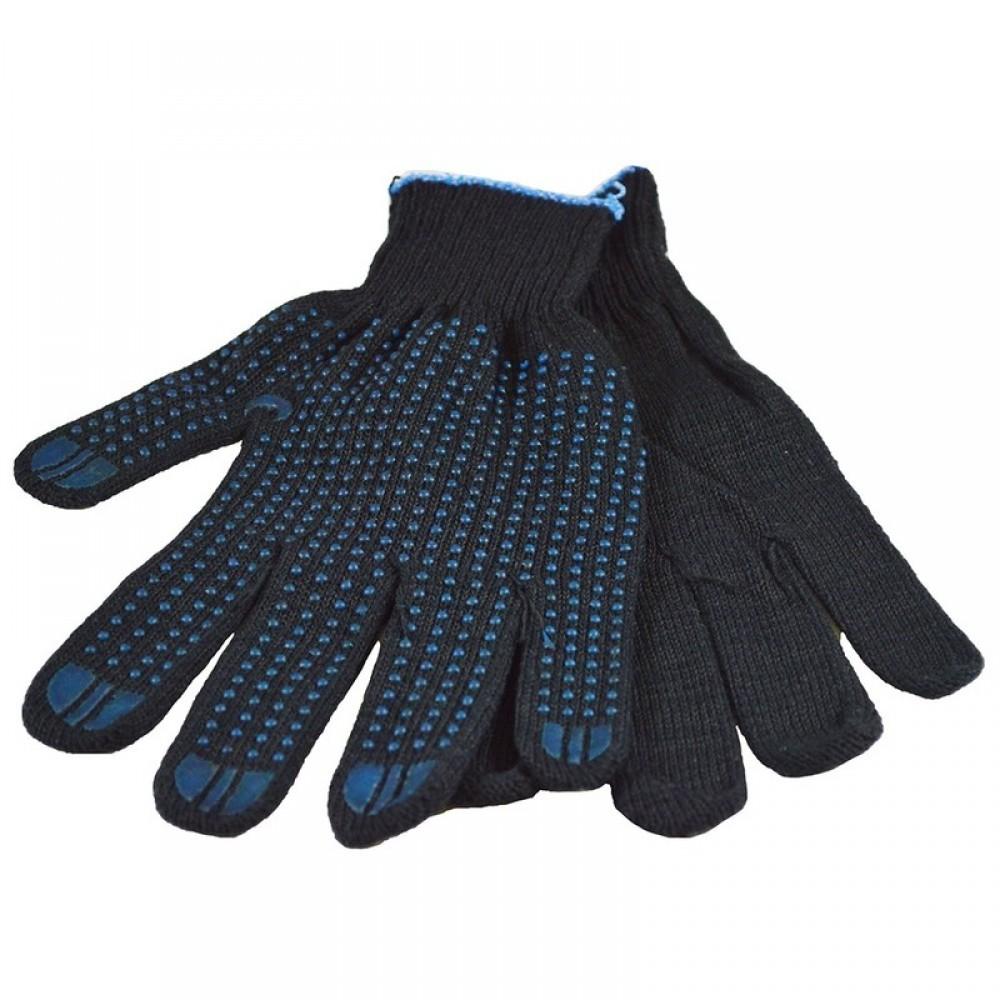 Перчатки рабочие хб с ПВХ 10 класс 4 нити чёрные